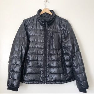 J. Crew Black Thin quilted Puffer jacket Large